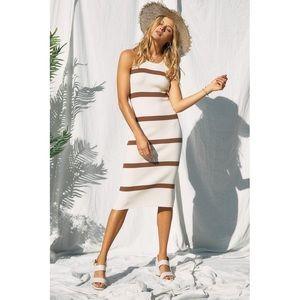 The Lindsey Ivory Striped Midi Dress